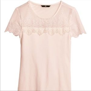 H&M lace top pink blush, size S. NWT
